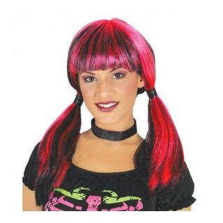 Perruque Halloween rouge et noir
