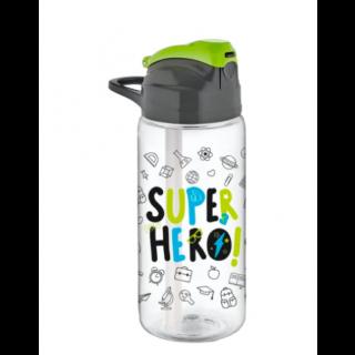 Gourde d'eau et jus avec paille super hero