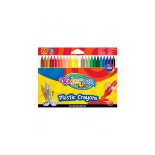 Colorino Crayons Plastic Effaçable 24 couleurs avec gomme