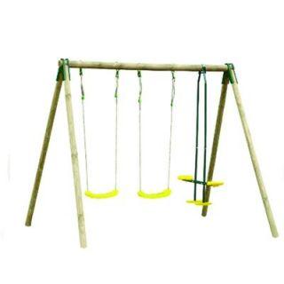 Portique bois DARIFOU 2,30m - 3 agrès 2 balançoires + 1F/F