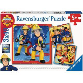 Puzzle Notre héros Sam le pompier - 3x49 pièces