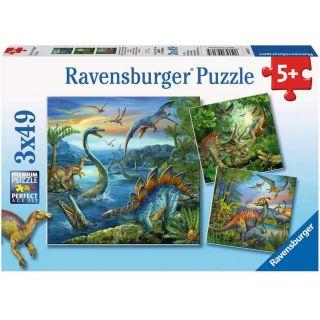 Ravensburger Puzzle La fascination des dinos - 3 x 49 Pièces