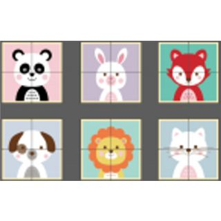Puzzle de blocs d'animaux en bois 6 faces